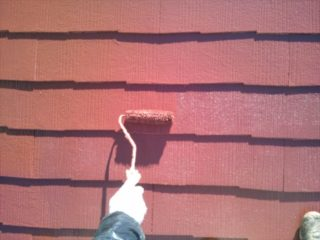 小山市 T様邸 屋根塗装上塗り