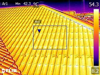 熱交換塗料施工後屋根表面温度42.3度