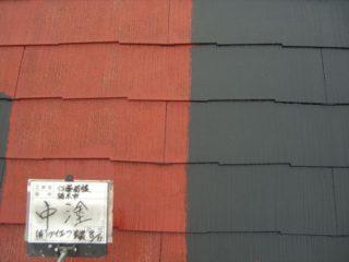 屋根塗装コロニアル中塗り